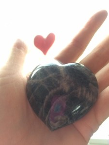 Black Moon Stone Heart in Hand